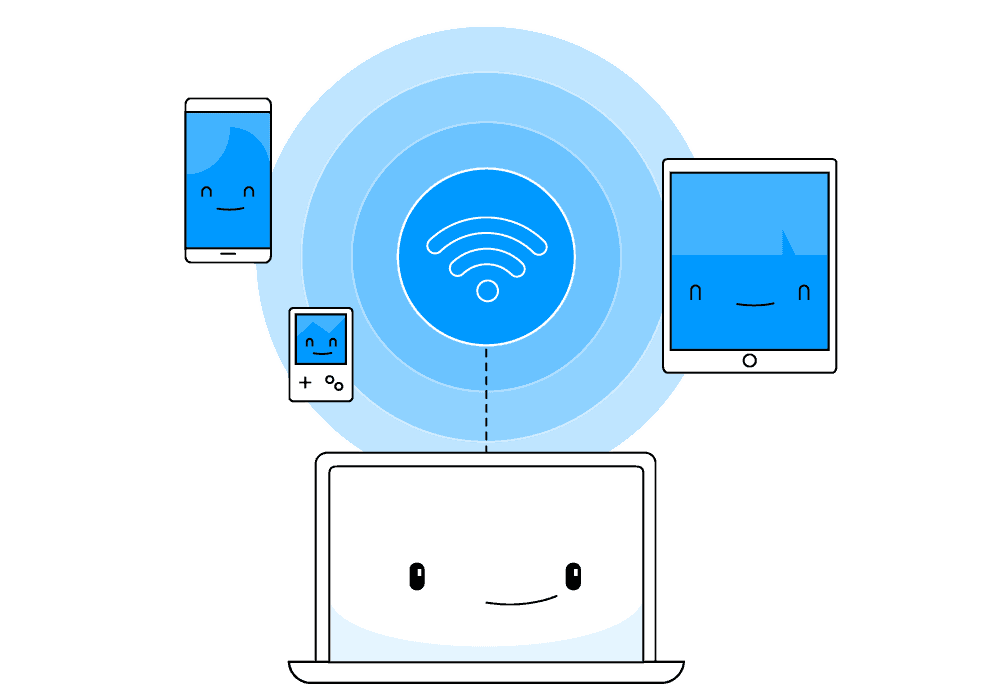 Image depicts connection of gadgets, including lapop, tablet, smartphone to a Wi-Fi