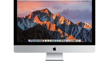 Images shows a switched on Mac computer model