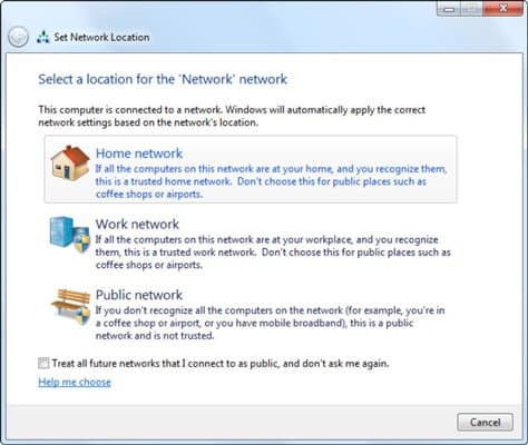 Shows hotspot network type selection screen on Windows