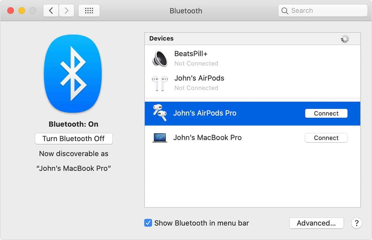 Shows the pairing option on Mac buetooth screen to reconnect airpod
