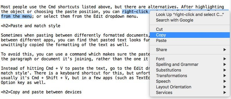 shows an alternative method to copy and paste on Mac