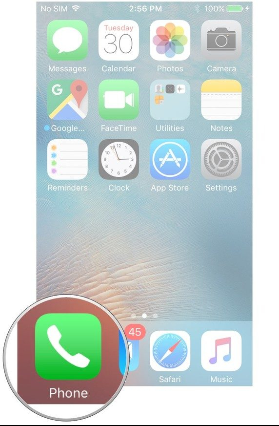 Image shows accessing phone app icon on Iphone, a step towards blocking a number on iphone