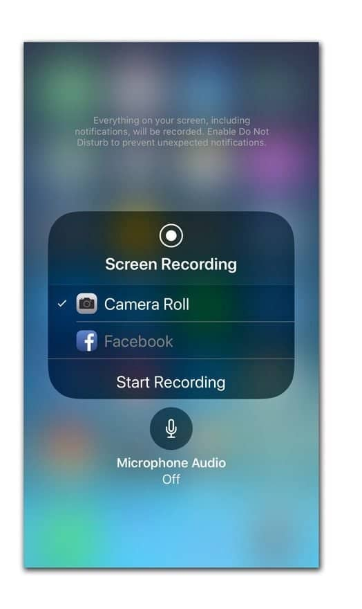 "Image depicts ""Screen recording"" on iPhone with the turn on or off microphone prompt"