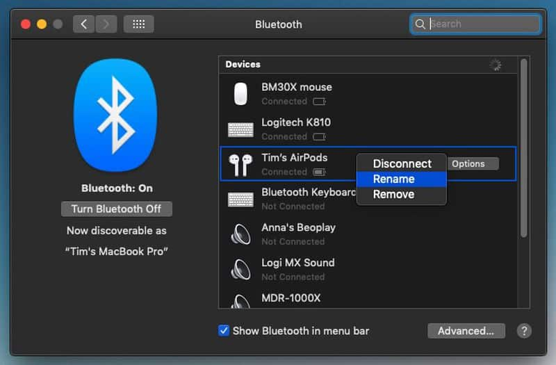 Image depicts the bluetooth pane on Mac