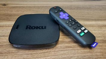 Shows Roku with a remote