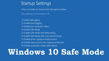 Shows Windows 10 safe mode booting option