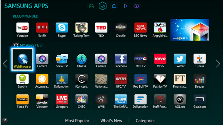 shows the apps on TV where Disney plus is selected from