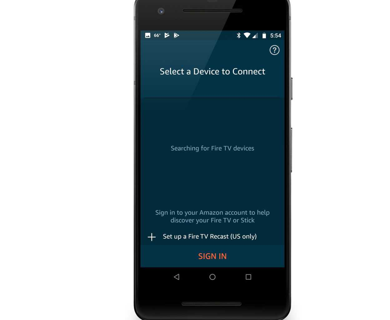 Shows device selection option on mobile device for firestick remote