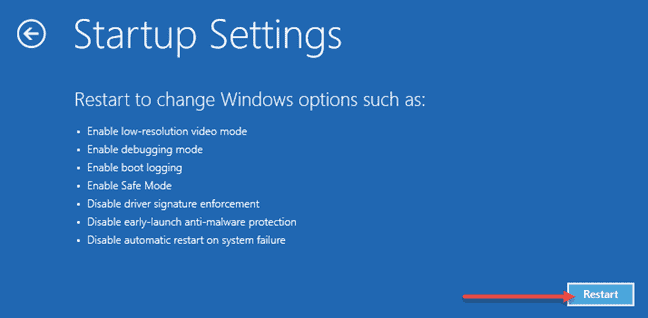 displays an impage that prompts you to change windows 10 options and Restart