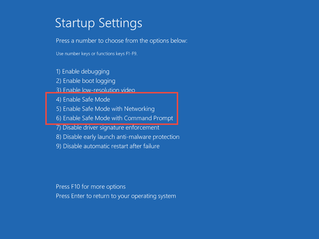 shows the three options to boot windows 10 safe mode