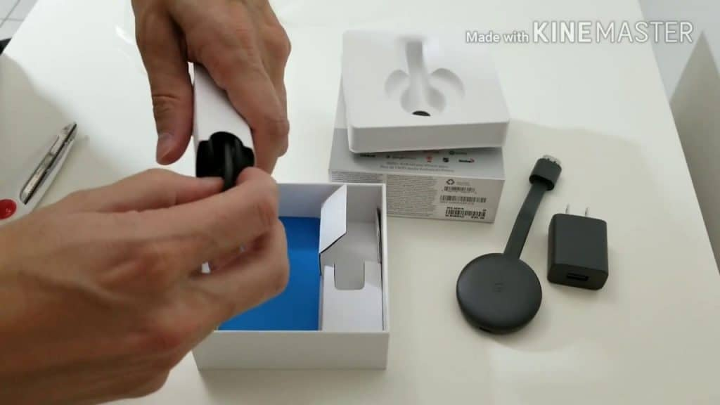 shows Chromecast being unpacked for Setup