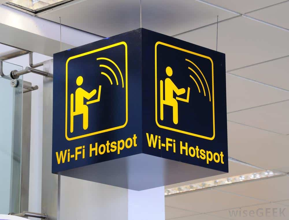 Shows aWiFi hotspot sign in a public place