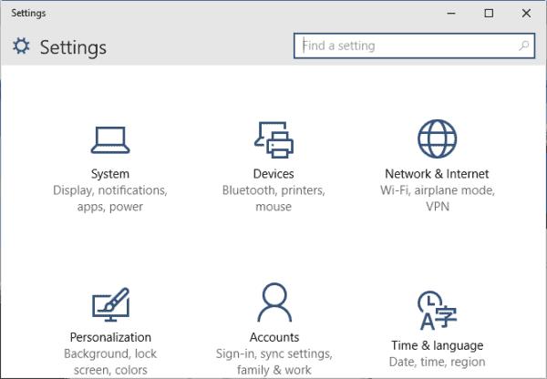 settings segment of windows 10 computer