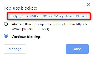Block pop-up