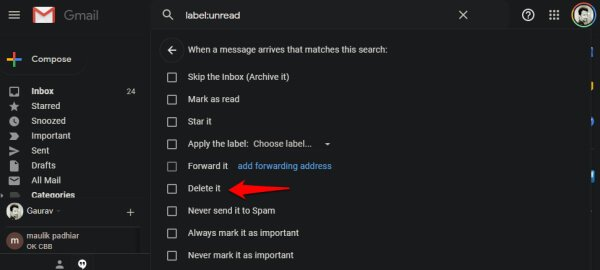 Select email to delete