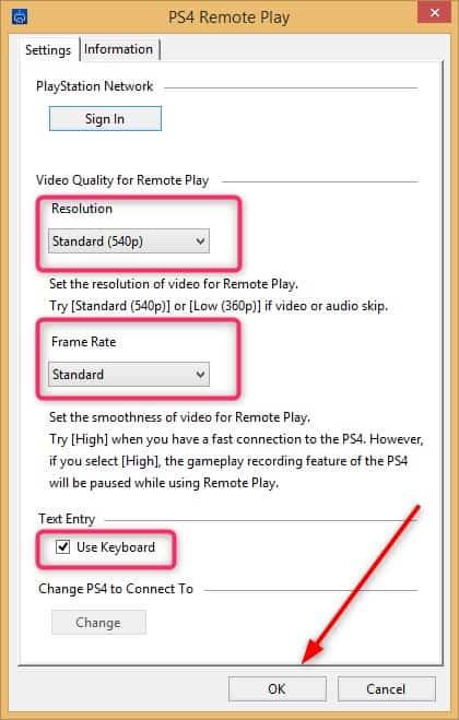 PS4 Remote configuration