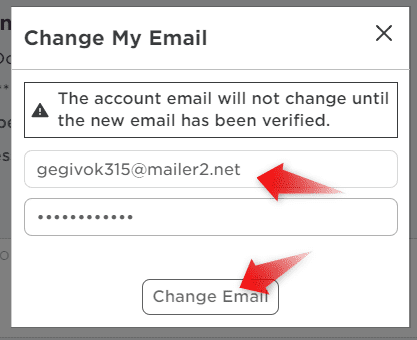 Change email on Roblox