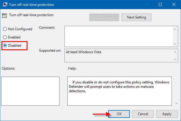 Disabled real-time protection in Windows 10