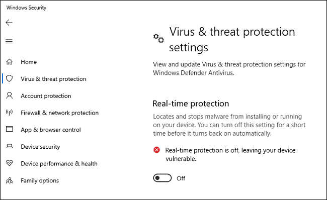 Virus & real protection settings