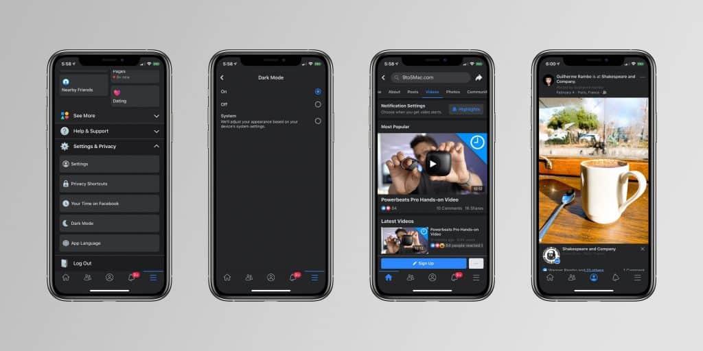 Facebook Dark mode on iPhone