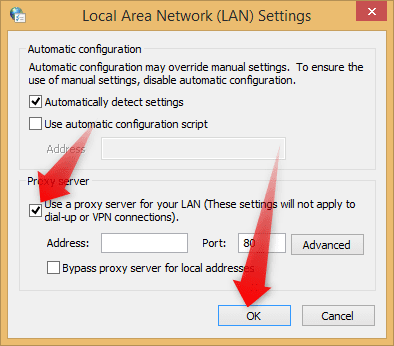 Enable Proxies option in Internet Options