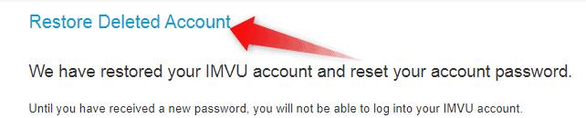 Restore IMVU Deleted Account