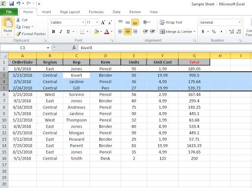 Excel Column