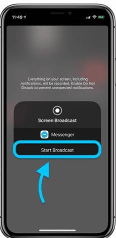 Broadcast iPhone screen to Facebook Messenger