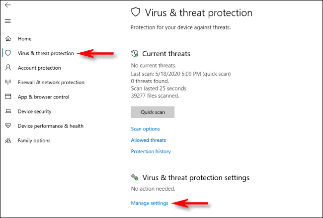 Windows 10 real-time protection