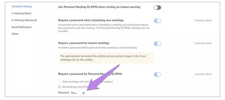 Change meeting password on Zoom