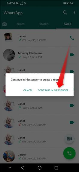 Continue in Messenger
