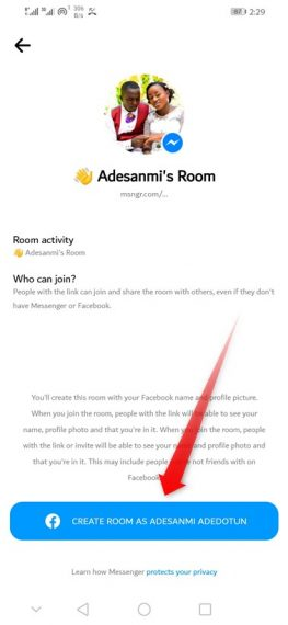 Create WhatsApp Room Support as name