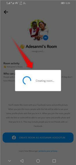 Creating room on Messenger