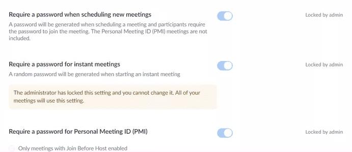 Turn of Zoom Meeting Password