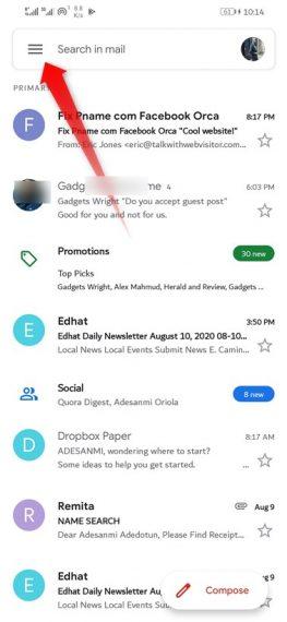 Gmail Menu