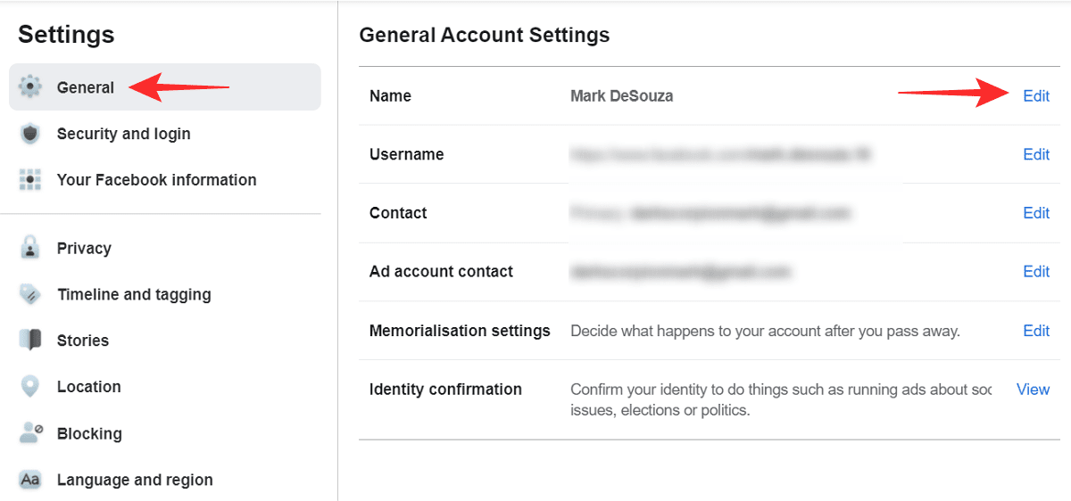 How to change your Facebook name
