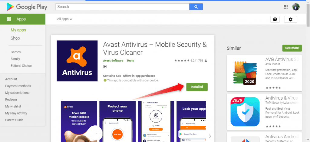 Install Android apps from Google Store