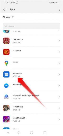 Tap Messages app