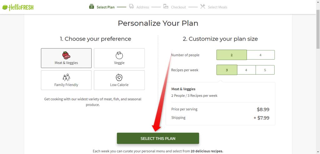 Select Hello Fresh Plan