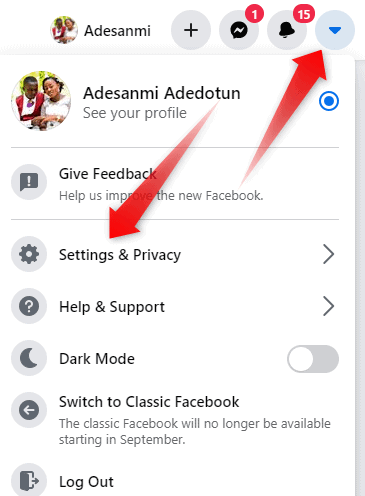 Facebook menu and settings