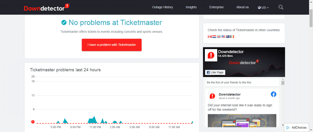 Ticketmaster server down