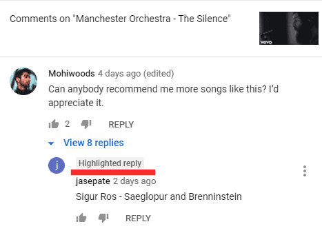 What Does Highlighted Comment Mean on YouTube