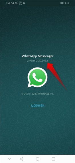 WhatsApp version 2.20.197.6