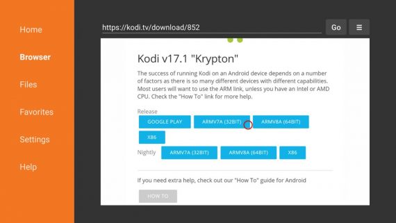 "The Fire TV operating system is a branch of Android, so the Kodi app for Android works just fine.   7. Choose a 32-bit installation.   This version of the app works best with Fire TV devices, but you can try others if you'd like to experiment.   8. Click Install.   This screen is also where you can check Kodi permissions.   9. Customize Kodi the way you want.   You can access Kodi just like any other app on Fire TV. From there, you can share your media libraries, install add-ons, and change Kodi to your liking. Note that if you're using a Fire TV stick, you'll likely need to use a remote media server while the Fire TV has a USB storage port.   https://www.tomsguide.com/amp/us/how-to-install-kodi-fire-tv,news-25115.html     Using Kodi on FireStick  After you've installed Kodi, it's time to learn how to use it on Fire Stick for safe entertainment. Kodi gives you access to the vast world of free content that ranges from movies to TV shows and more.   Before using Kodi on your Fire TV / Stick, however, I want to warn you that whatever you stream on Kodi will be visible to your ISP and government. If you are caught watching copyrighted content (free movies, TV shows, sports), you could run into serious legal trouble.  Fortunately, there is a way to enjoy your favorite content through Kodi without worrying about who might be watching it. What you need is a reliable VPN service that will hide all of your internet activity from web spies. With a VPN, you can avoid internet bottlenecks, online monitoring, and restrictions on geographic content.  Most people use ExpressVPN. It's the fastest VPN that is most important for a smooth streaming experience.  We never promote or encourage copyright infringement. But we also don't want legal problems to arise. Additionally, we believe in the right to privacy and are a strong advocate of it.  Before we start using Kodi on Fire TV / Stick, let's see how to use ExpressVPN to keep your streaming activity away from prying eyes.  Step 1: Click HERE to subscribe to the ExpressVPN service. There's a no-questions-asked, 30-day money-back guarantee. If you are not satisfied with this (which I see no reason to be), you can request a full refund within the first 30 days.  Step 2: Turn on your Fire TV / Stick and go to the magnifying glass (search icon). You'll find it on the far left. Now type ""Expressvpn"" (without the quotes) in the search bar and select ExpressVPN when it appears in the search results.    image  Step 3: Click ""Get"" to download the ExpressVPN app and install it on your Fire TV / Stick.     image  Step 4: Once installed, launch the ExpressVPN app and log in with the email ID/password you created when you purchased the ExpressVPN subscription.    image  Step 5: Now, click on the power icon to connect to a VPN server (see figure below). You can also change your preferred location by clicking ""Select Location"" (see image below). That's all. Now your connection is secure with the best and fastest VPN for FireStick.    image    https://www.firesticktricks.com/install-kodi-on-firestick.html"