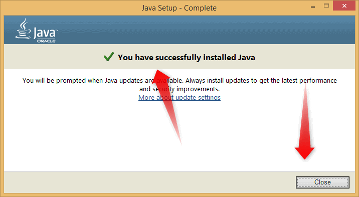 Java Installed Successful