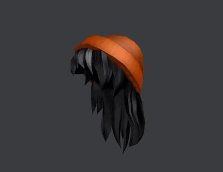 Orange Beanie with Black Hair