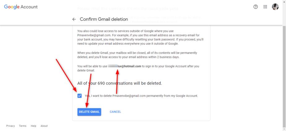 Confirm account deletion
