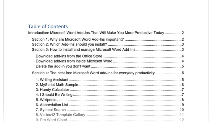 How to create table of contents in Word
