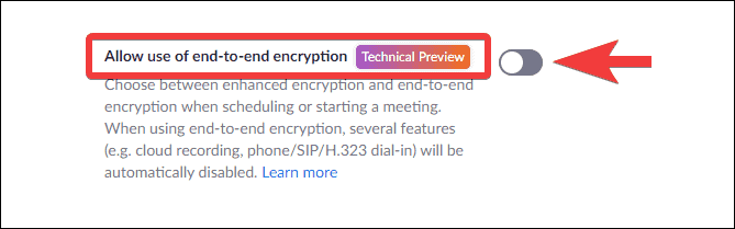 how to enable end-to-end encryption in Zoom