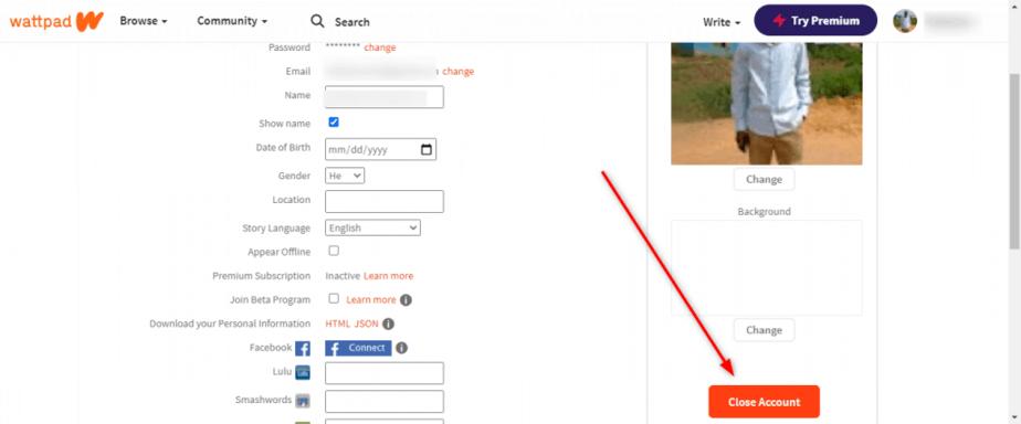 How to close Wattpad account